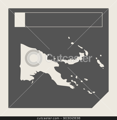 Papa New Guinea map button stock photo, Papa New Guinea map button in responsive flat web design map button isolated with clipping path. by Martin Crowdy