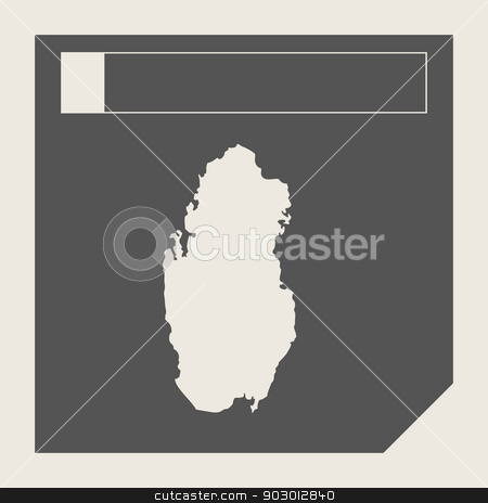 Qatar map button stock photo, Qatar map button in responsive flat web design map button isolated with clipping path. by Martin Crowdy