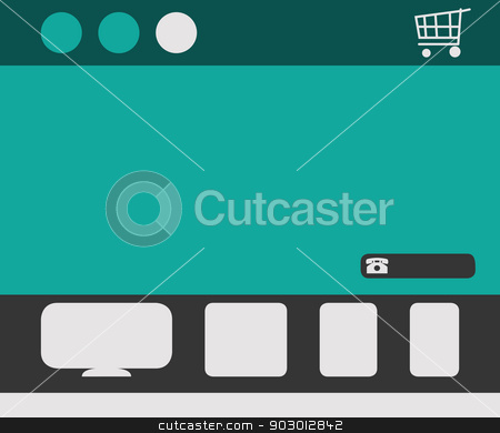 Responsive web design site stock photo, Template for responsive web design site with icons and shopping cart. by Martin Crowdy