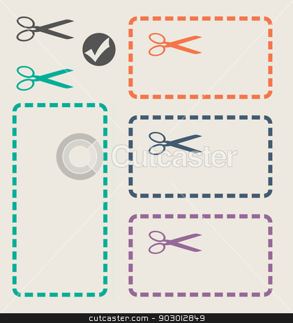 Set of cut out shapes stock photo, Set of cut out shapes in flat web design colors with scissors and copy space. by Martin Crowdy