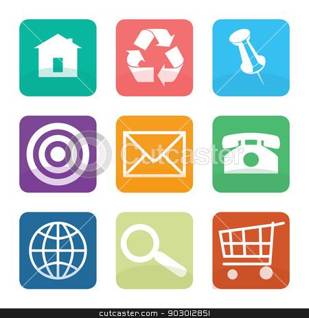 Set of flat web design icons stock photo, Set of flat web design icons isolated on white background. by Martin Crowdy