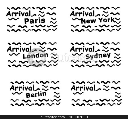 Set of passport stamps stock photo, Set of passport stamps isolated on a white background. by Martin Crowdy