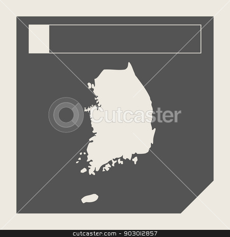 South Korea map button stock photo, South Korea map button in responsive flat web design map button isolated with clipping path. by Martin Crowdy
