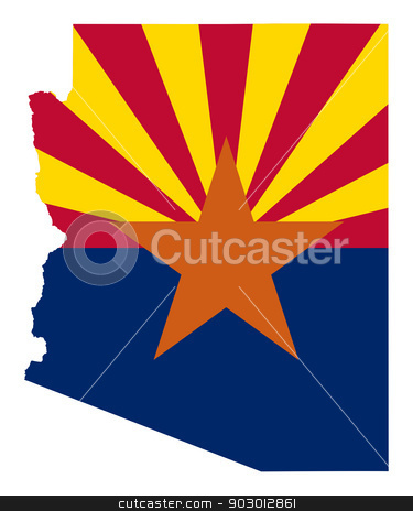 State of Arizona flag map stock photo, State of Arizona flag map isolated on a white background, U.S.A. by Martin Crowdy