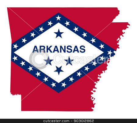 State of Arkansas flag map stock photo, State of Arkansas flag map isolated on a white background, U.S.A. by Martin Crowdy