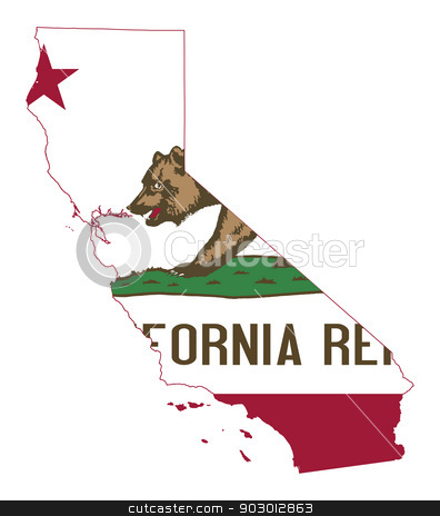 State of California flag map stock photo, State of California flag map isolated on a white background, U.S.A. by Martin Crowdy