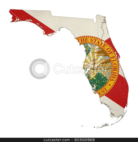 State of Florida grunge flag map stock photo, State of Florida grunge flag map isolated on a white background, U.S.A.  by Martin Crowdy
