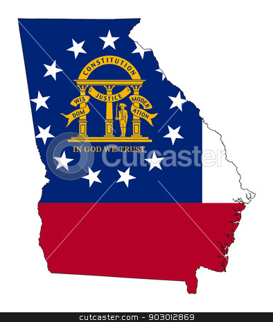 State of Georgia flag map stock photo, State of Georgia flag map isolated on a white background, U.S.A. by Martin Crowdy