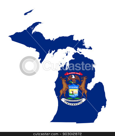 State of Michigan flag map stock photo, State of Michigan flag map isolated on a white background, U.S.A.  by Martin Crowdy