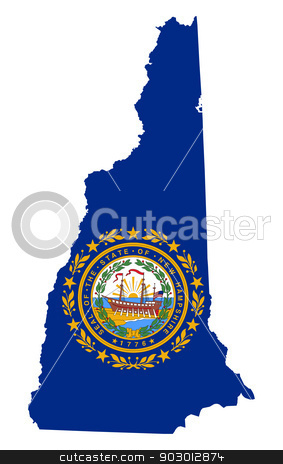 State of New Hampshire flag map stock photo, State of New Hampshire flag map isolated on a white background, U.S.A.  by Martin Crowdy