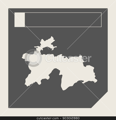 Tajikistan map button stock photo, Tajikistan map button in responsive flat web design map button isolated with clipping path. by Martin Crowdy