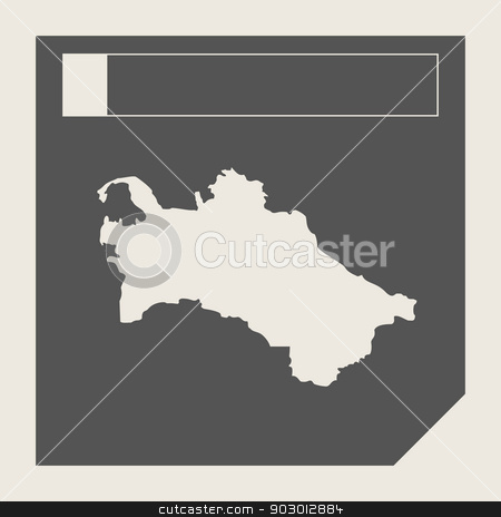 Turkmenistan map button stock photo, Turkmenistan map button in responsive flat web design map button isolated with clipping path. by Martin Crowdy