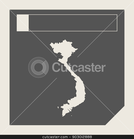 Vietnam map button stock photo, Vietnam map button in responsive flat web design map button isolated with clipping path. by Martin Crowdy
