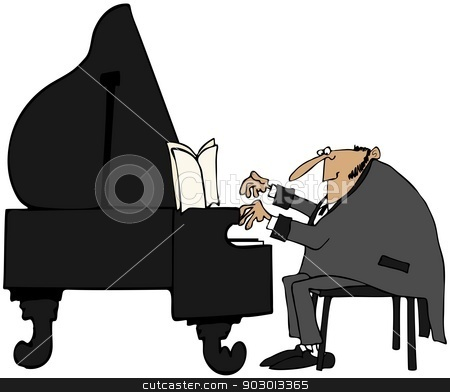 Pianist in tails stock photo, This illustration depicts a man wearing a coat with tails playing a grand piano. by Dennis Cox