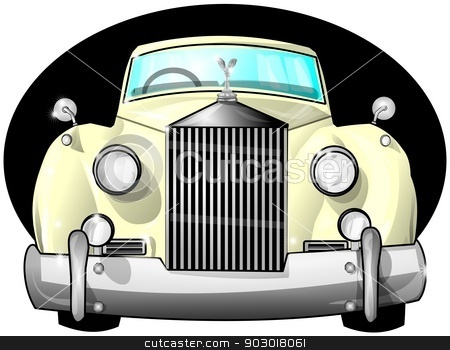 Luxury car stock photo, This illustration depicts the front view of a luxury car with over sized fenders, grill and headlights. by Dennis Cox