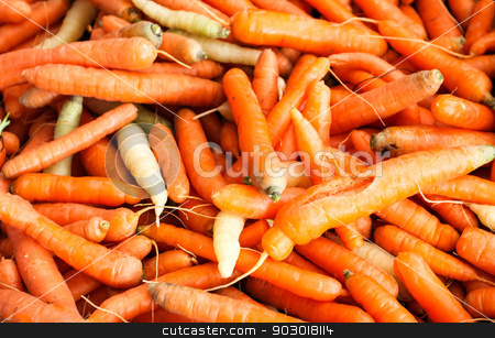 Carrots stock photo, Carrots at a farmer's market as background image. by Henrik Lehnerer
