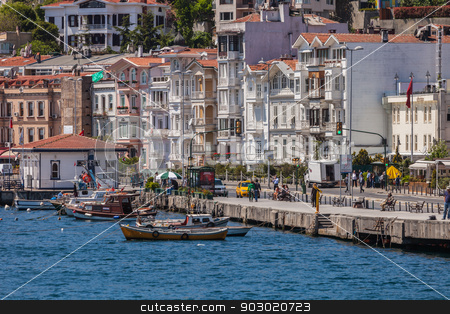 VIew of Istanbul from Bosphorus Strait  stock photo, ANKARA, TURKEY – APRIL 27: Istanbul coastline on the lead up to Anzac Day.  Turkish people remember allies from Australia and New Zealand who fought at the battle of Galipoli during World War I.   by Scott Griessel
