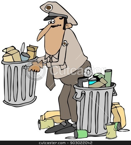 Garbage man stock photo, This illustration depicts an old time garbage man in uniform picking up a can of trash. by Dennis Cox