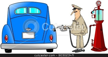 Gasoline fill-up stock photo, This illustration depicts a service station attendant putting gas into an old car from an antique pump. by Dennis Cox