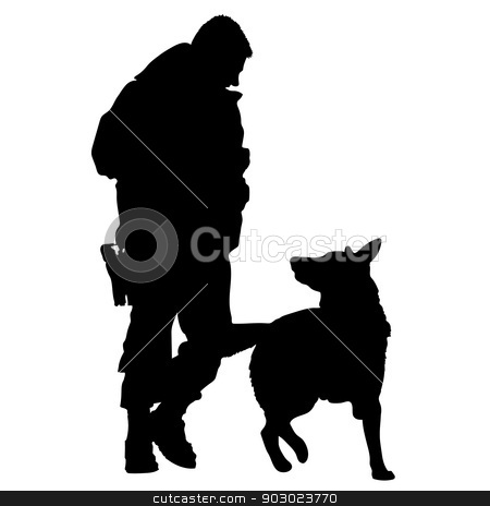 Police Dog Silhouette 5 stock vector clipart, Silhouette of a police officer training with his dog partner  by Maria Bell