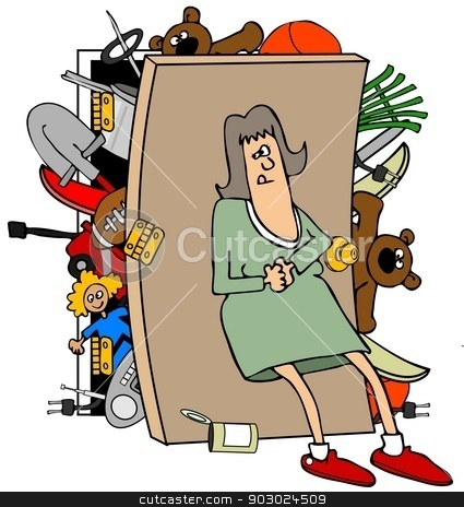 Woman with a full closet stock photo, This illustration depicts a woman trying to hold back the broken door of an overflowing closet. by Dennis Cox