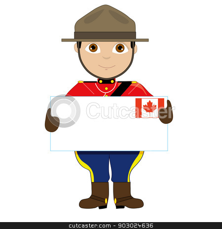 Canada Sign Boy stock vector clipart, A young boy or man is dressed in a Canadian Mountie uniform and is holding a sign with a Canadian flag on it that looks like a giant letter. There is room for text by Maria Bell