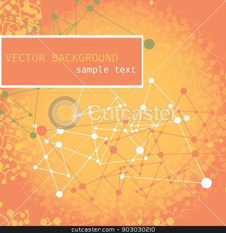 background with branches, triangles stock vector clipart, abstract orange background with branches, triangles and the silhouette of the ornament by LittleCuckoo