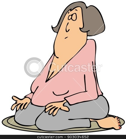 Woman on her knees meditating stock photo, This illustration depicts a woman on her knees with palms upright meditating. by Dennis Cox