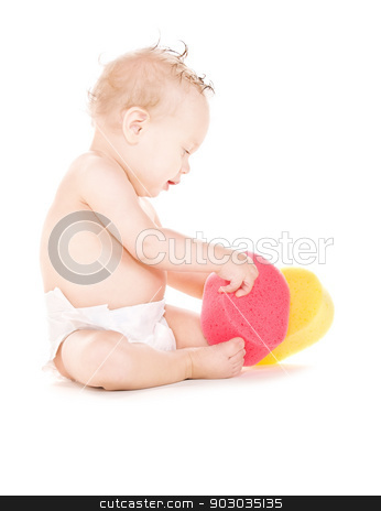 baby boy with sponges stock photo, picture of baby boy with sponges over white by Syda Productions