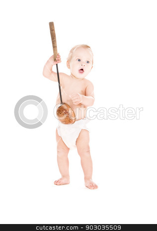 baby boy with big scoop stock photo, picture of baby boy with big scoop over white by Syda Productions