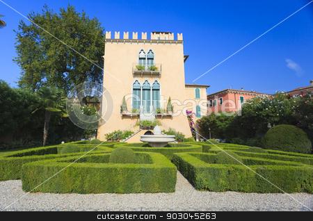 Italian architecture in Bardolino stock photo, Beautiful italian garden and villa in Bardolino near lake Garda by Natalia Macheda