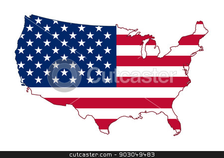 America flag map stock photo, America flag map isolated on a white background, U.S.A. by Martin Crowdy