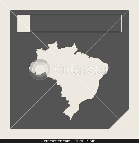 Brazil map button stock photo, Brazil map button in responsive flat web design map button isolated with clipping path. by Martin Crowdy