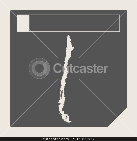 Chile map button stock photo, Chile map button in responsive flat web design map button isolated with clipping path. by Martin Crowdy