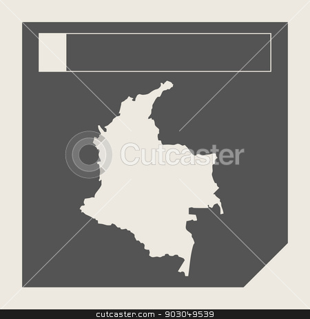 Columbia map button stock photo, Columbia map button in responsive flat web design map button isolated with clipping path. by Martin Crowdy