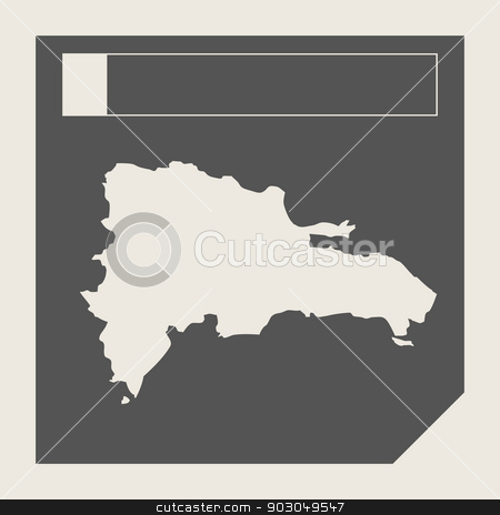 Dominican Republic map button stock photo, Dominican Republic map button in responsive flat web design map button isolated with clipping path. by Martin Crowdy