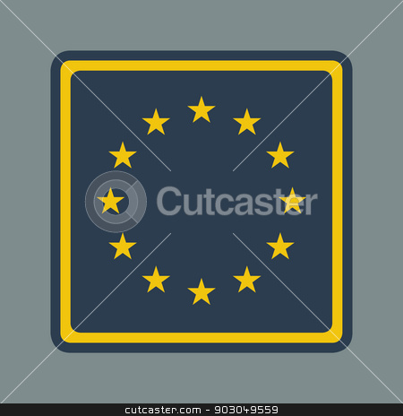 European flag button stock photo, European flag button in flat responsive web design style isolated with clipping path. by Martin Crowdy