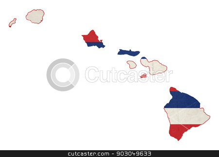 Grunge state of Hawaii flag map stock photo, State of Hawaii flag map isolated on a white background, U.S.A.  illustration; graphical by Martin Crowdy