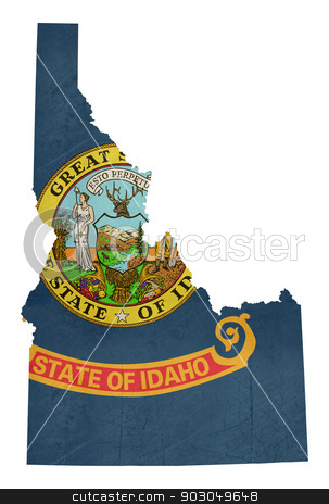 Grunge state of Idaho flag map  stock photo, Grunge state of Idaho flag map isolated on a white background, U.S.A.  by Martin Crowdy