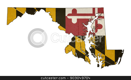 Grunge state of Maryland flag map stock photo, Grunge state of Maryland flag map isolated on a white background, U.S.A. by Martin Crowdy
