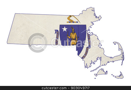 Grunge state of Massachusetts flag map stock photo, Grunge state of Massachusetts flag map isolated on a white background, U.S.A.  by Martin Crowdy