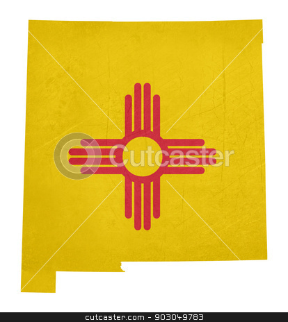 Grunge state of New Mexico flag map stock photo, Grunge state of New Mexico flag map isolated on a white background, U.S.A. by Martin Crowdy