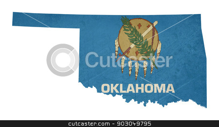 Grunge state of Oklahoma flag map stock photo, Grunge state of Oklahoma flag map isolated on a white background, U.S.A.  by Martin Crowdy