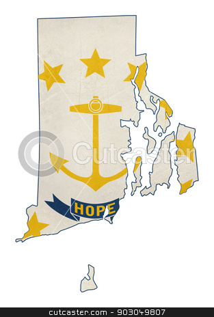 Grunge state of Rhode island flag map stock photo, Grunge state of Rhode island flag map isolated on a white background, U.S.A. by Martin Crowdy