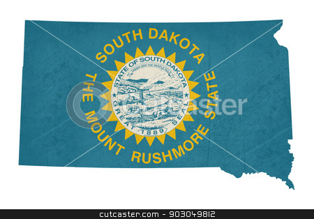 Grunge state of South Dakota flag map stock photo, Grunge state of South Dakota flag map isolated on a white background, U.S.A. by Martin Crowdy