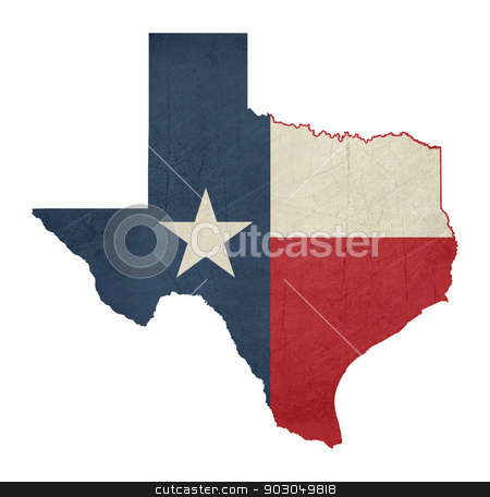 Grunge state of Texas flag map stock photo, Grunge state of Texas flag map isolated on a white background, U.S.A.  by Martin Crowdy