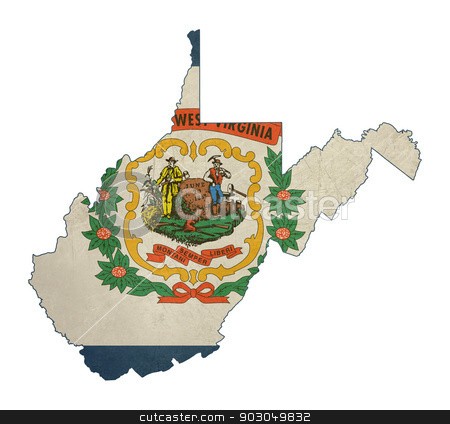 Grunge state of West Virginia flag map stock photo, Grunge state of West Virginia flag map isolated on a white background, U.S.A.  by Martin Crowdy