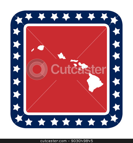 Hawaii state button stock photo, Hawaii state button on American flag in flat web design style, isolated on white background. by Martin Crowdy