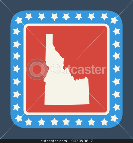 Idaho state button stock photo, Idaho state button on American flag in flat web design style, isolated on white background. by Martin Crowdy
