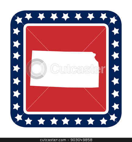Kansas state button stock photo, Kansas state button on American flag in flat web design style, isolated on white background. by Martin Crowdy